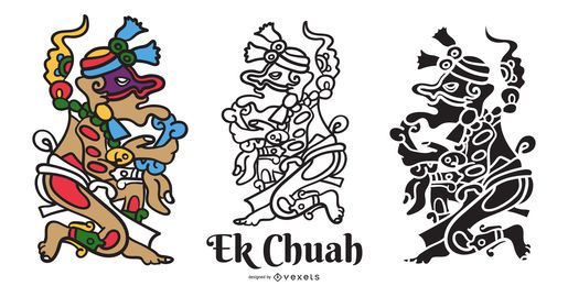 Ek Chuah mayan god vector set