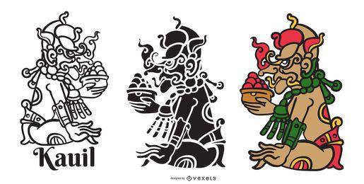 Conjunto de vectores de dios maya kauil
