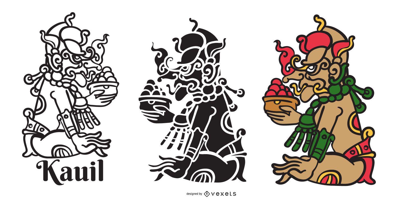 Kauil mayan god vector set