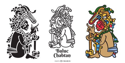 Conjunto de deus maia de Buluc Chabtan