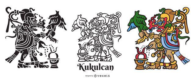 Conjunto de ilustración de dios maya Kukulkan