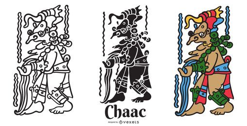 Conjunto de ilustración Maya God Chaac