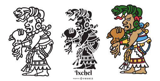 Projeto da ilustração do deus maia Ixchel
