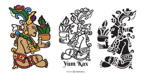 Diseño de ilustración de Maya God Yum Kax