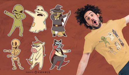 Design de camiseta de personagem de Halloween