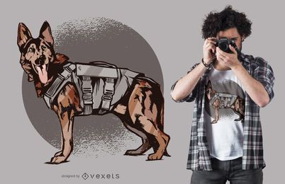 Diseño de camiseta de perro pastor alemán de la Unidad K-9