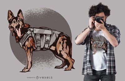 Projeto do t-shirt do cão de pastor alemão da unidade K-9