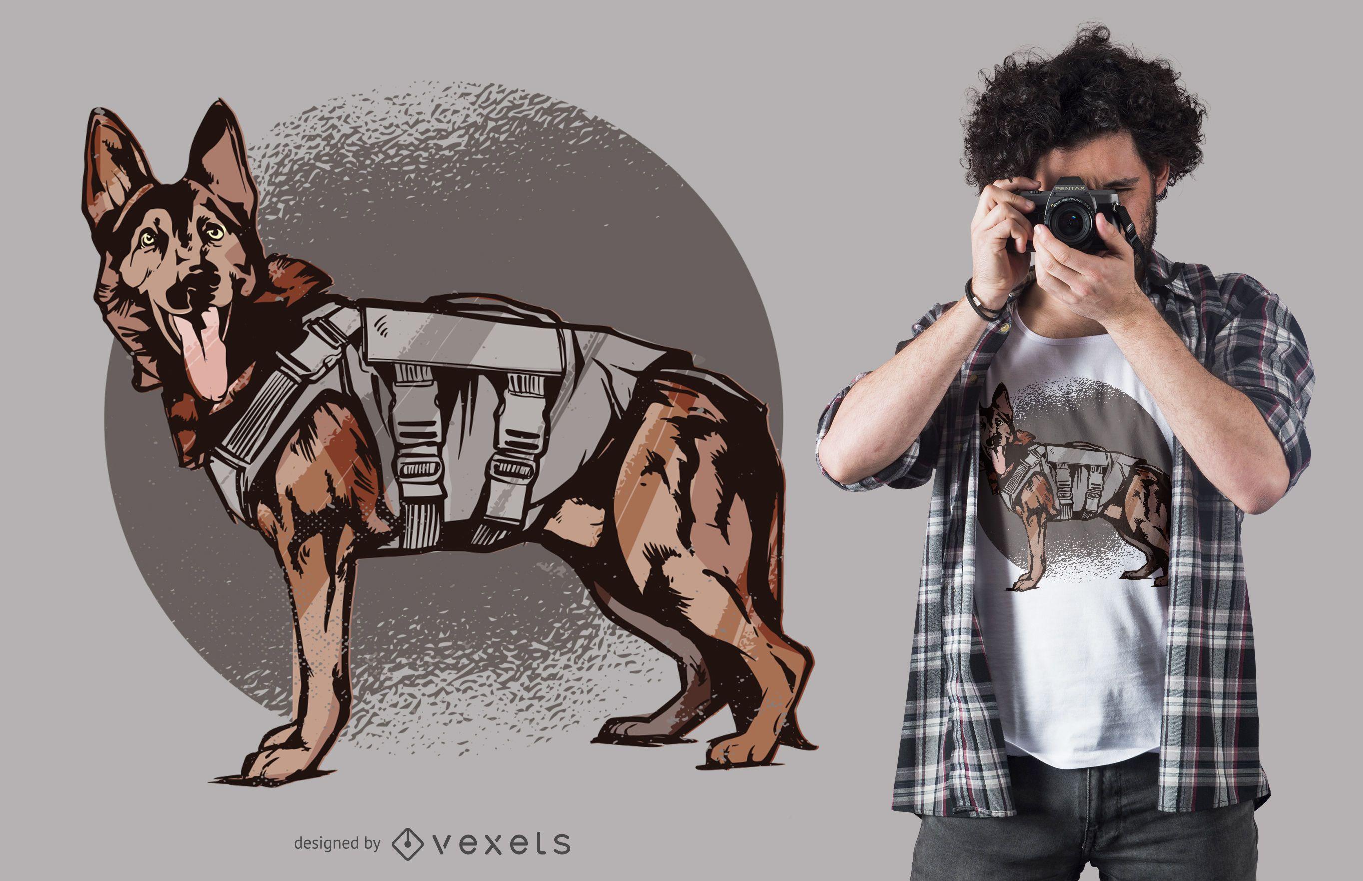 Design de camiseta para cães pastor alemão da unidade K-9