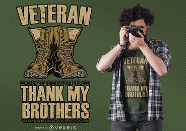 Design de camisetas com citações de botas de veterano