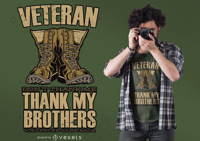 Design de t-shirt de citação de botas de veterano