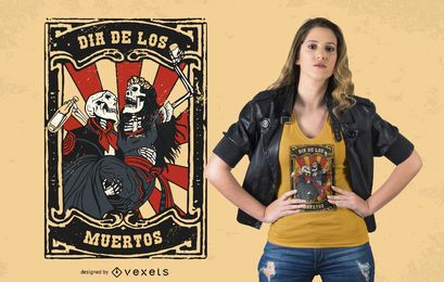 Diseño de camiseta de pareja Día de los Muertos