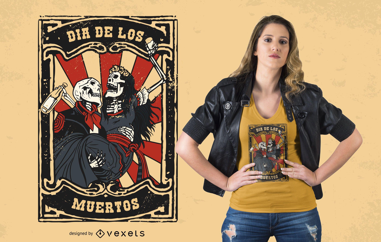 Diseño de camiseta de pareja Día de los Muertos.