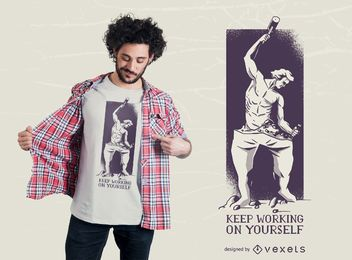 Design de t-shirt de escultura de homem de crescimento pessoal