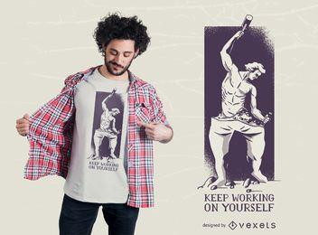 Diseño de camiseta de escultura de hombre de crecimiento personal