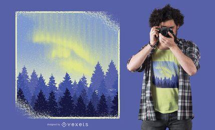Projeto do t-shirt da paisagem de Aurora Borealis