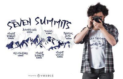Projeto do t-shirt da montanha de sete cimeiras