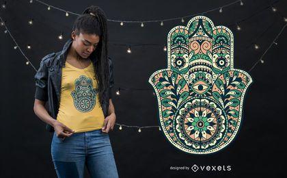 Diseño de camiseta de mano de Hamsa ornamental