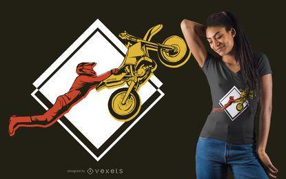 Design de t-shirt de acrobacias de bicicleta de sujeira