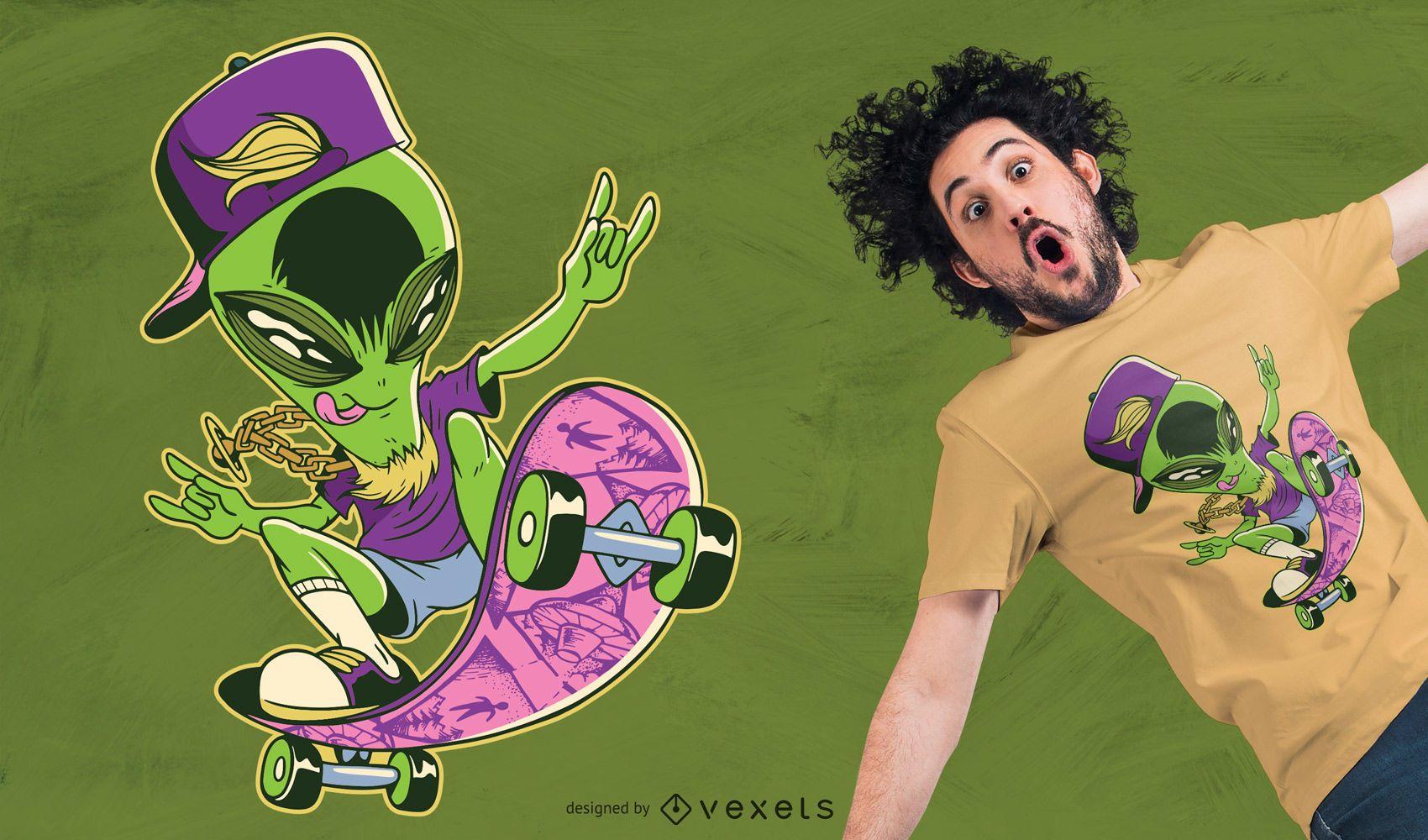 Alien Skater T-shirt Design