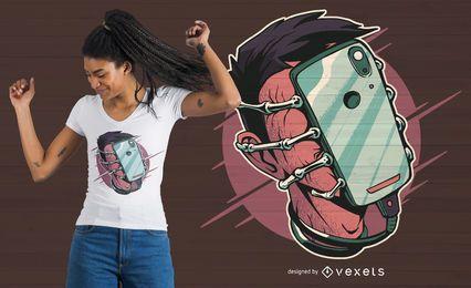 Design de t-shirt do telefone Facehugger