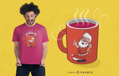 Weihnachtsmann-Becher-T-Shirt Entwurf