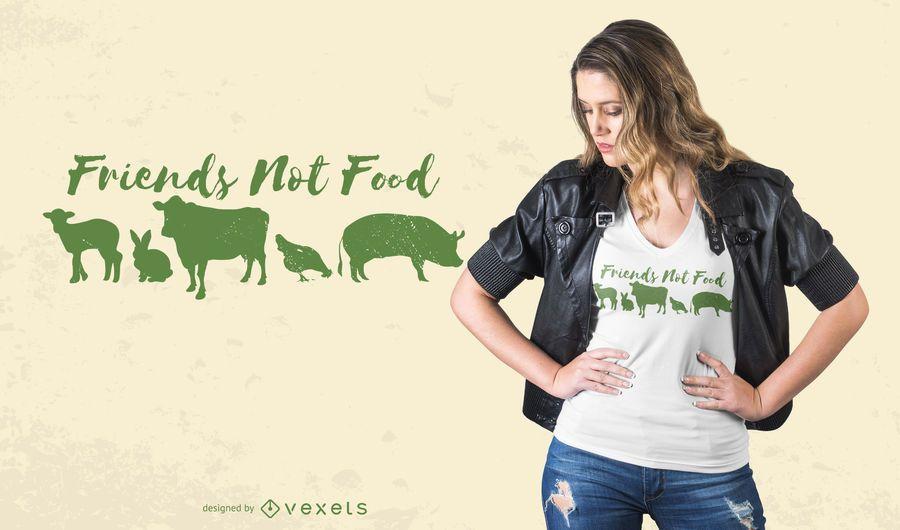 Design de camisetas com citações veganas dos amigos animais