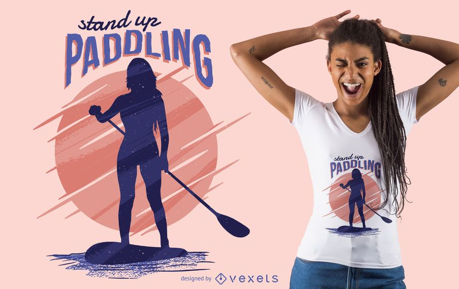 Stand up paddling t-shirt design