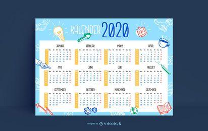 Design de calendário 2020 Doodle de negócios