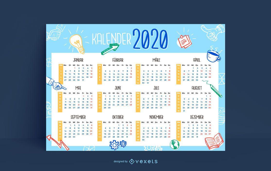 Diseño de calendario de Doodle de negocios 2020