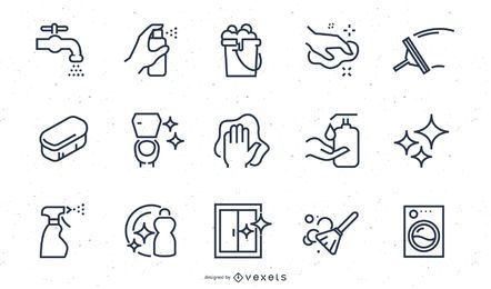 Conjunto de ícones de traçado de elementos de limpeza
