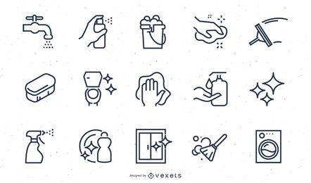 Reinigungselemente Stroke Icon Set