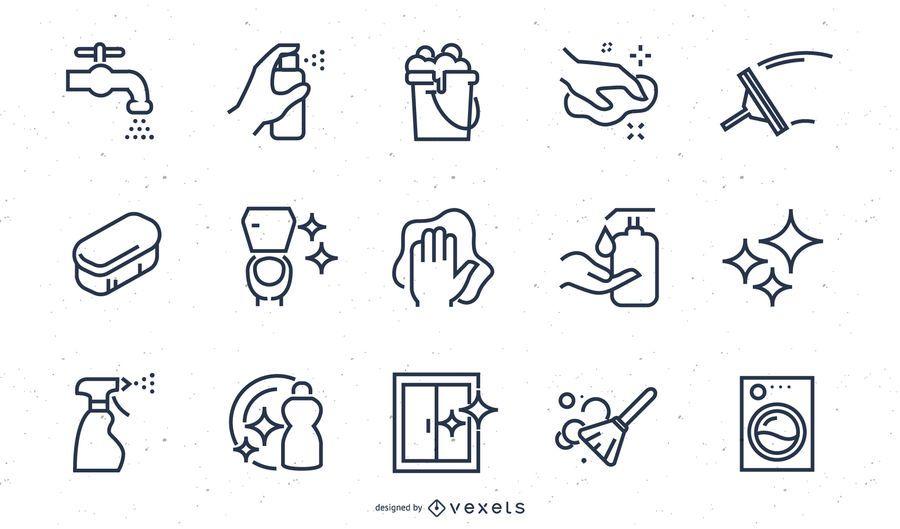 Conjunto de iconos de trazo de elementos de limpieza