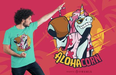 Diseño de camiseta Hawaii Unicorn