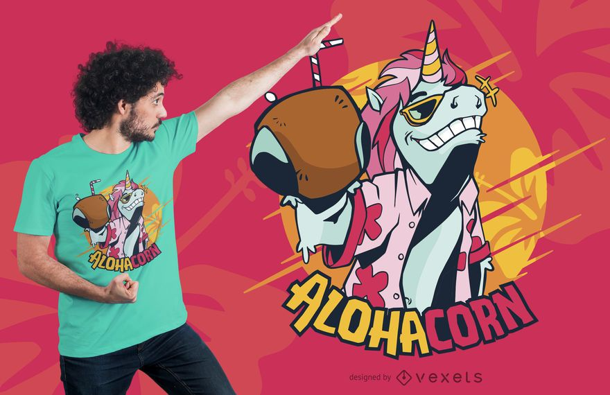 Design de t-shirt de unicórnio do Havaí