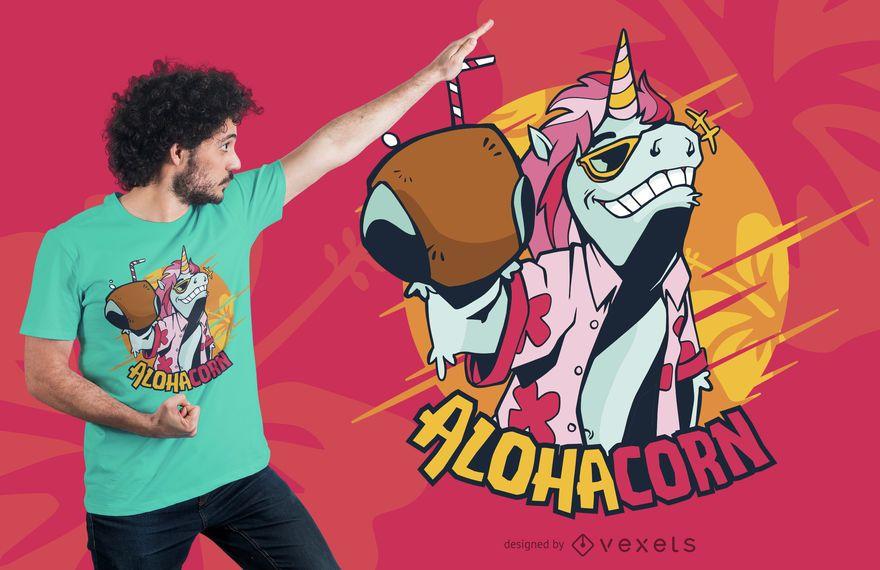 Diseño de camiseta Hawaii Unicorn