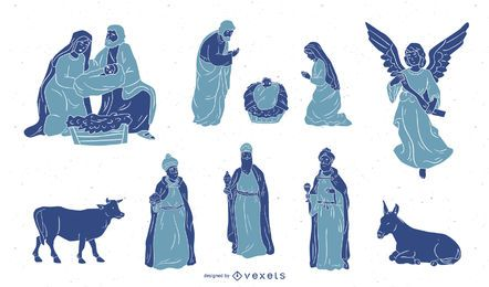 Conjunto de silhueta de caracteres de natividade
