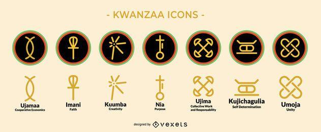 Conjunto de iconos de vacaciones Kwanzaa