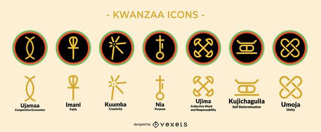 Kwanzaa Holiday Icon Set
