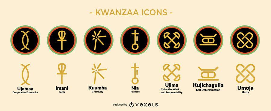 Conjunto de ícones de férias Kwanzaa