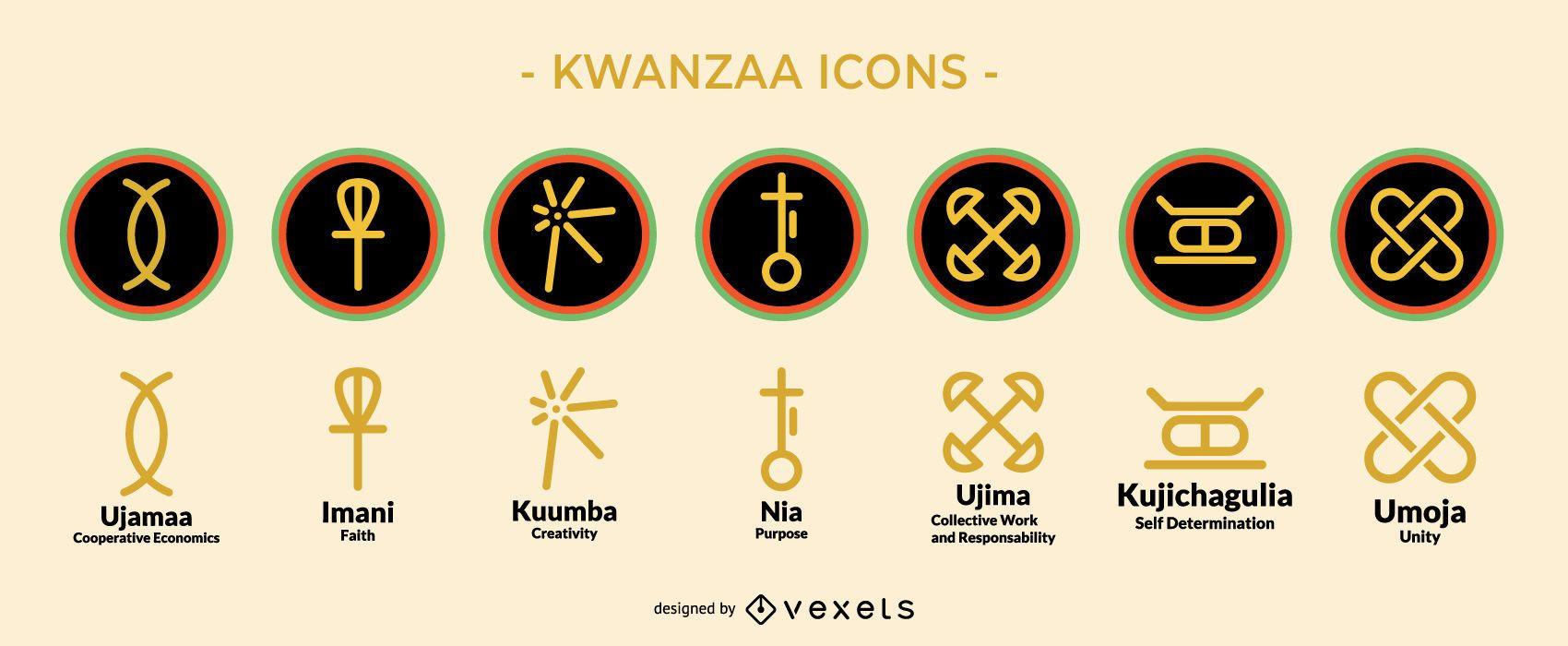 Conjunto de iconos de vacaciones de Kwanzaa