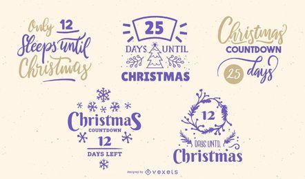 Letras editables de cuenta regresiva de Navidad