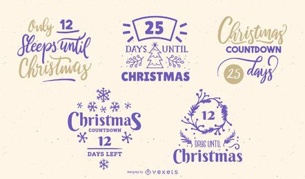 Letras editáveis de contagem regressiva de Natal