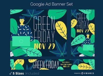 Conjunto de banner de anuncio de viernes verde
