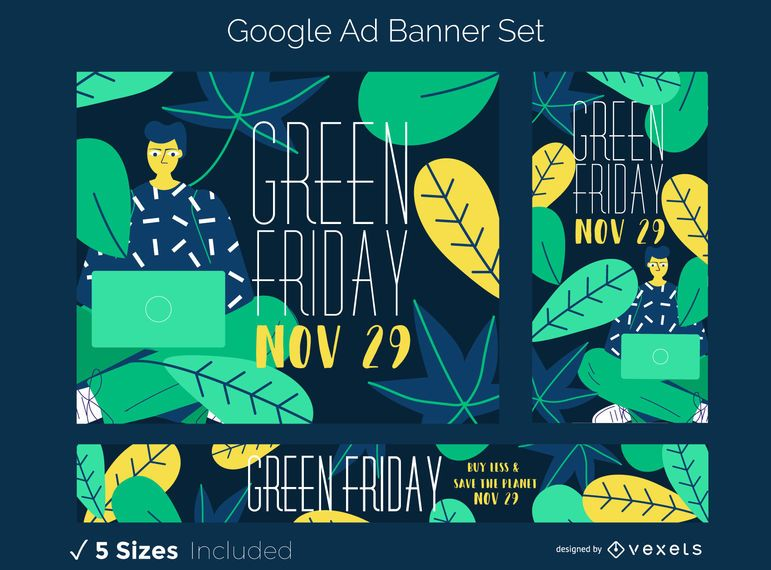 Conjunto de banner de anúncio sexta-feira verde