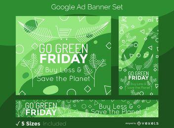 Conjunto de banner de anúncios do Google sexta-feira verde