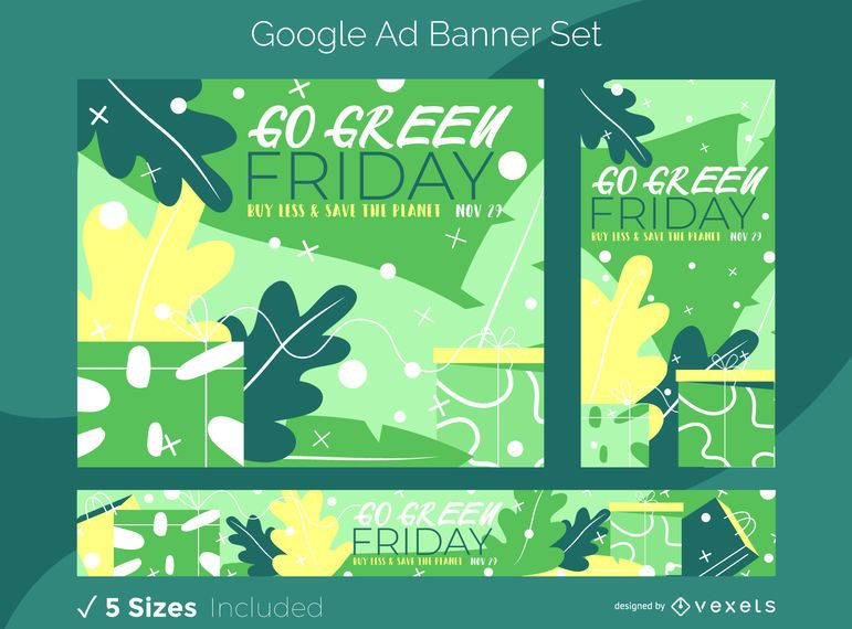 Sexta-feira verde natureza conjunto de banners de anúncios do Google