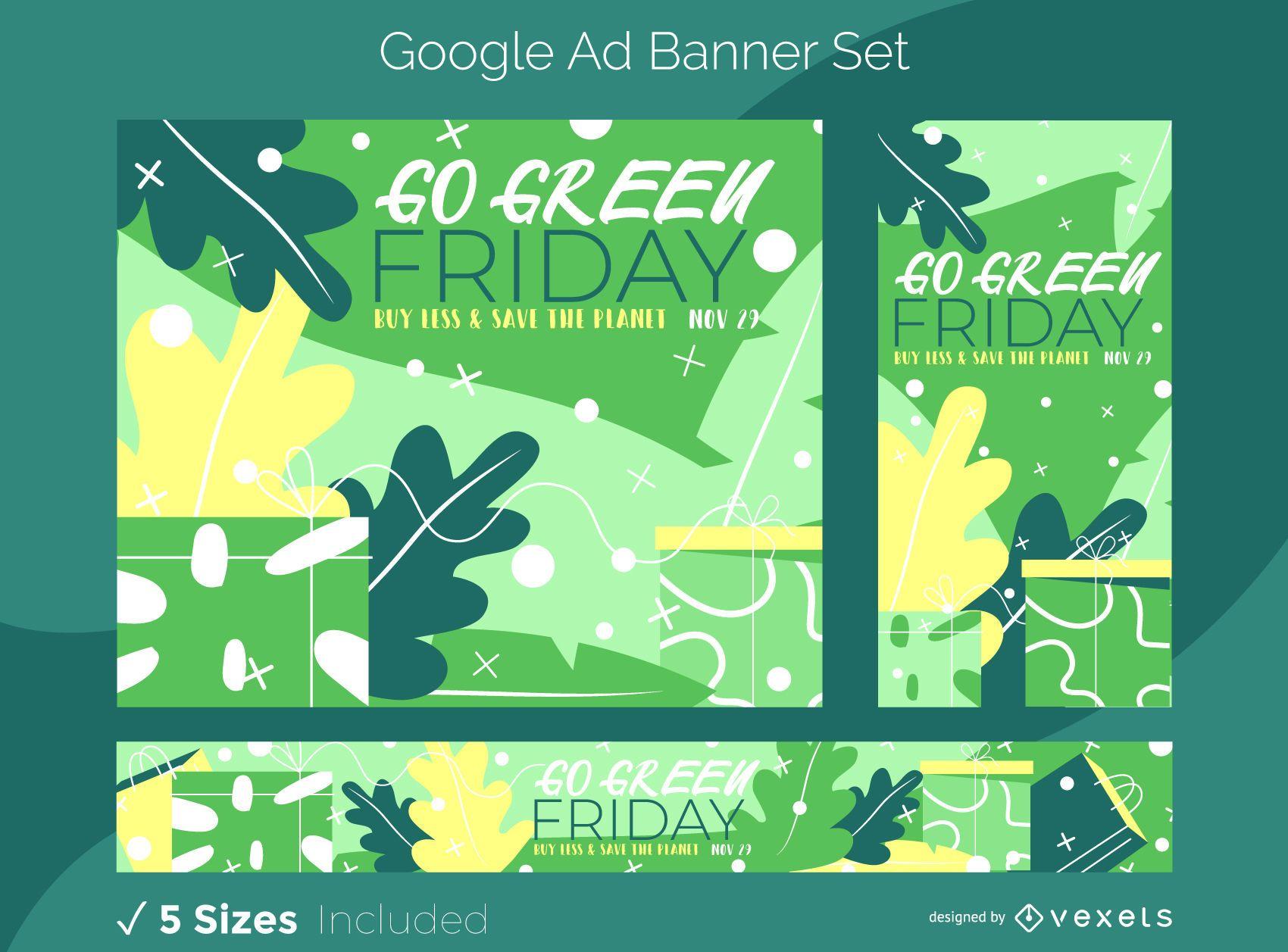 Conjunto de banners de anuncios de Google Green Nature Friday