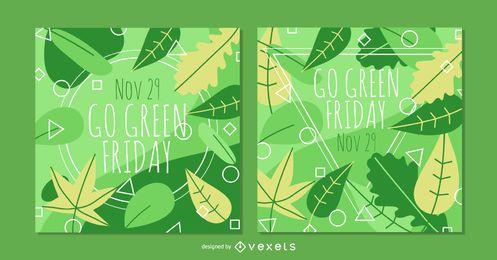 Conjunto de banner verde quadrado sexta-feira