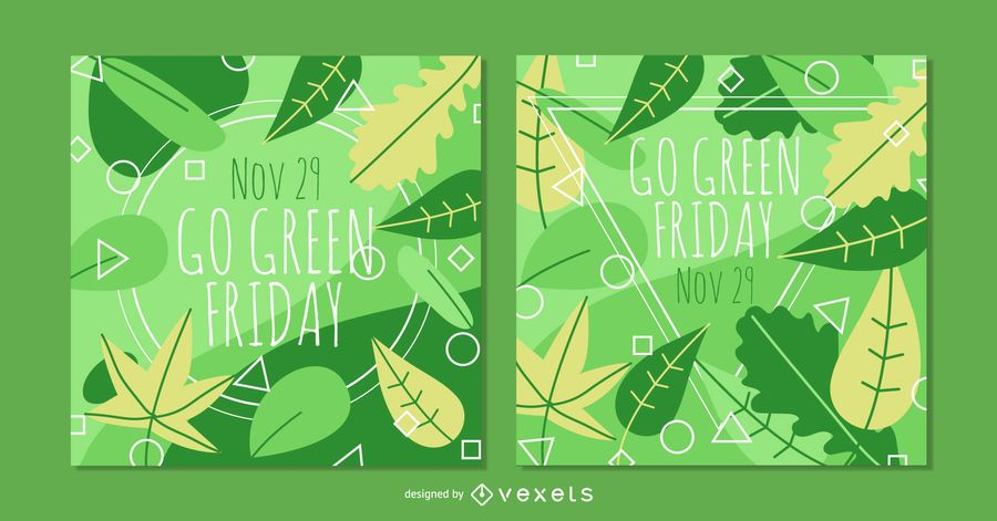 Go Green Friday Square Banner Set Vector Download