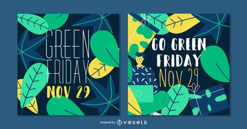 Conjunto de Banner de Green Post Social Friday